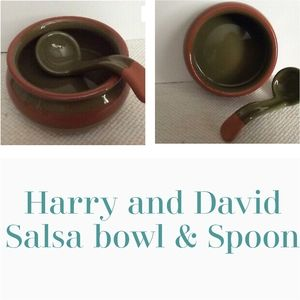 Harry and David Salsa Serving Bowl And Spoon